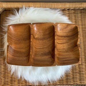 Vintage divided wood bowl